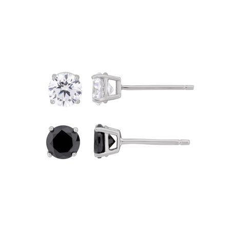 Black and White CZ Sterling Silver Stud Earring Set, 2 Pair