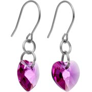 Solid Titanium Heart July Birth Month Earrings Created with Swarovski Crystals