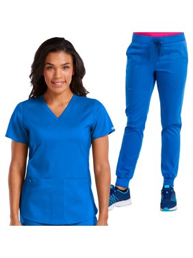Med Couture NEW TOUCH Women's V-Neck Shirttail Scrub Top & Jogger Yoga Scrub Pant Set [XS - 3XL, FREE SHIPPING]
