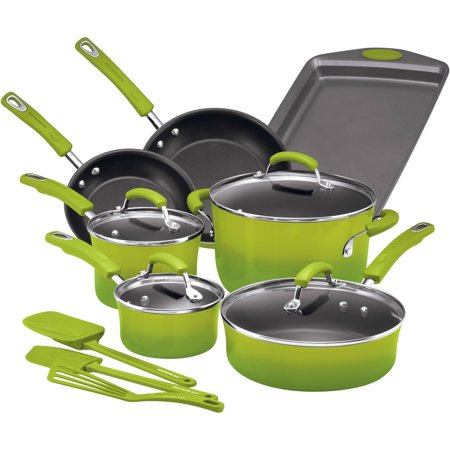 Rachael Ray Hard Enamel Nonstick 14-Piece Cookware Set, Green Gradient