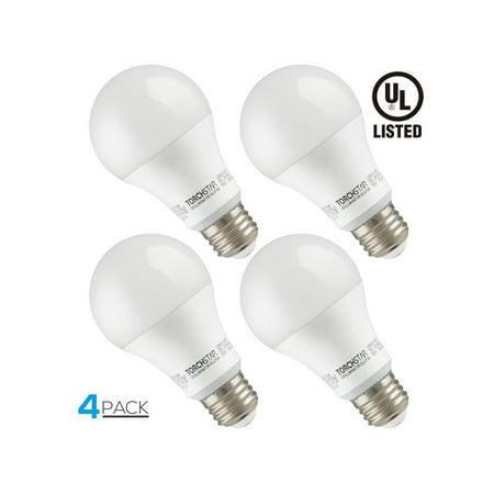 TORCHSTAR Garage Door Opener LED Bulb, 100W Equivalent LED A19 Light Bulb, 1600 Lumens Ultra-Bright 5000K Daylight, Non-Dimmable, Standard E26 Medium Base, Pack of 4 ()
