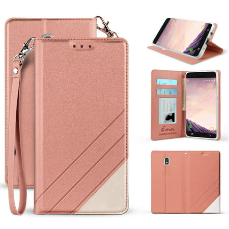 BC Synthetic PU Leather Magnetic Flip Cover Wallet Case and Atom Cloth for Samsung Galaxy J7 Star (T-Mobile) - Rose Pink ()