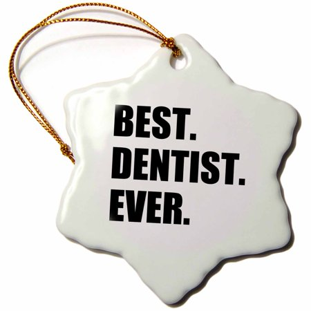 3dRose Best Dentist Ever - fun job pride gifts for dentistry career work, Snowflake Ornament, Porcelain,