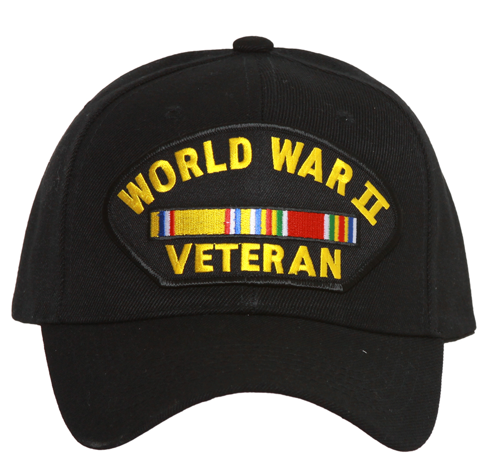 World War II Veteran Adjustable Hook and Loop Closure Black Hat
