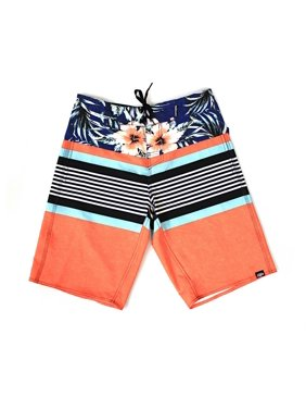Men's Beach Wear Board Shorts with Pocket in Orange Stripes Hibiscus Floral 30
