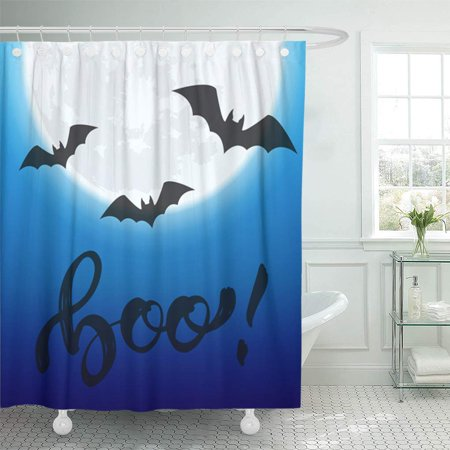 Halloween Night Events Denver (KSADK Halloween Night View of Glowing Full Moon and Flying Bats for Party Events Shower Curtain 66x72)