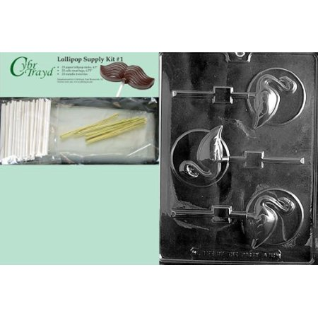 Cybrtrayd 45StK25G-A121 Flamingo Lolly on Disc Animal Chocolate Candy Mold with Lollipop Supply Kit