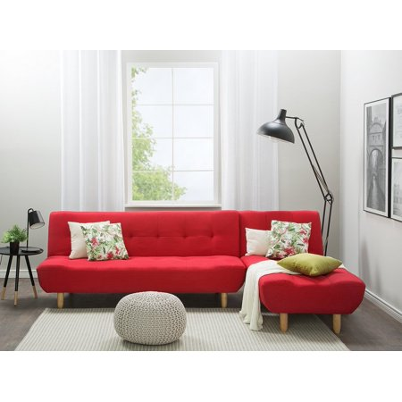 L- Shaped Modular Corner Sofa Bed 3 Seater Chaise Longue Reclining Red  Alsten