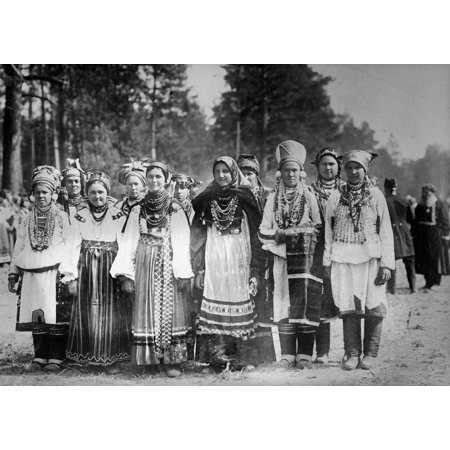 Russia Peasants C1909 Nrussian Peasant Girls In Holiday Attire Photographed C1909-1920 Rolled Canvas Art -  (24 x 36)