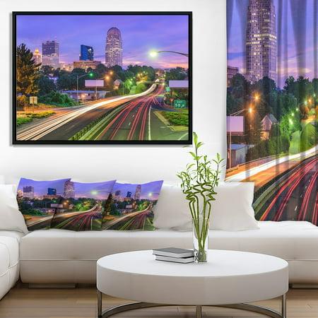 DESIGN ART Designart 'Winston Salem North Carolina' Cityscape Framed Canvas Print ()