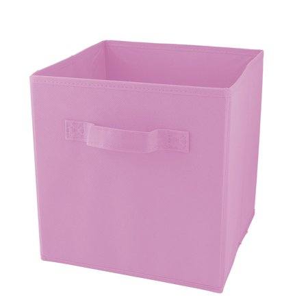 Non-woven Fabric Foldable Stationery Cosmetics Clothes Holder Storage Box Pink - Pink Storage Bin