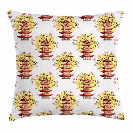 Ancient China Throw Pillow Cushion Cover, Chinese Pagoda Illustration in Lively Colors with Sakura Cherry and Sunset, Decorative Square Accent Pillow Case, 18 X 18 Inches, Multicolor, by - Color In Chinese