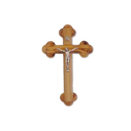 "Olive Wood Cross with Crucifix ""The Cross of the Fourteen Stations"" (5 inches high)"