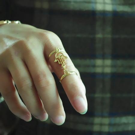 Mosunx Women Fatima Hand Shape Link Chain Interweave Finger Ring Bracelet