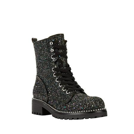 Portland Boot Company Women's Private Glitter Combat Boots