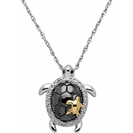 Turtle Pendant with Black and White Diamond Accent in 18kt Yellow Gold over Sterling Silver, 18