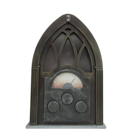 Happy Halloween Spooky Sounds (Haunted Spooky Arched Vintage Radio With Sounds Broadcasts Halloween Decor)