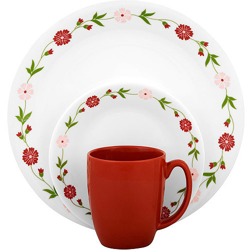 Corelle Livingware Spring Pink 32-Piece Dinnerware Value Bundle