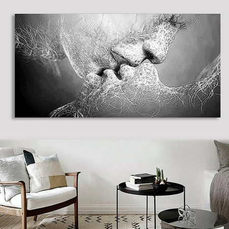 Unframed Fashion Black & White Affectionate Love Kiss Abstract Photos Art on Canvas Painting Wall Art Picture Print Artwork for Living Room Bedroom Office Wall Require a Frame ()