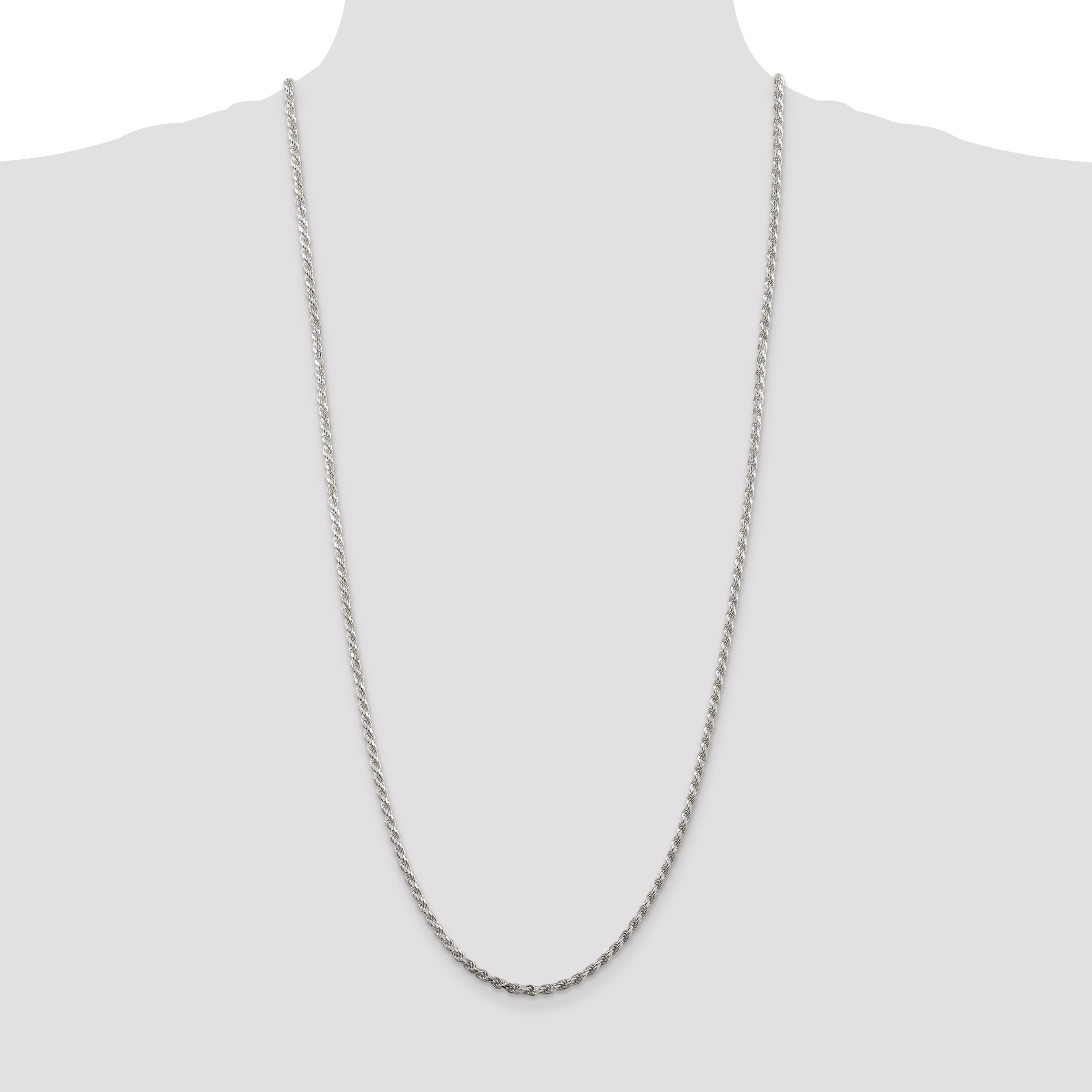 925 Sterling Silver 2.75mm Link Rope Necklace Chain Pendant Charm Fine Jewelry Gifts For Women For Her - image 4 de 5