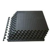 6pcs Fitness Interlocking Tiles Floor Protective Cushion EVA Foam Tiles Puzzle Exercise Mat (Black)