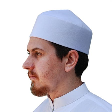 TheKufi® White Moroccan Fez-style Kufi Hat Islamic Cap with Pointed Top (L) (Kufi Hats Indonesia Style)