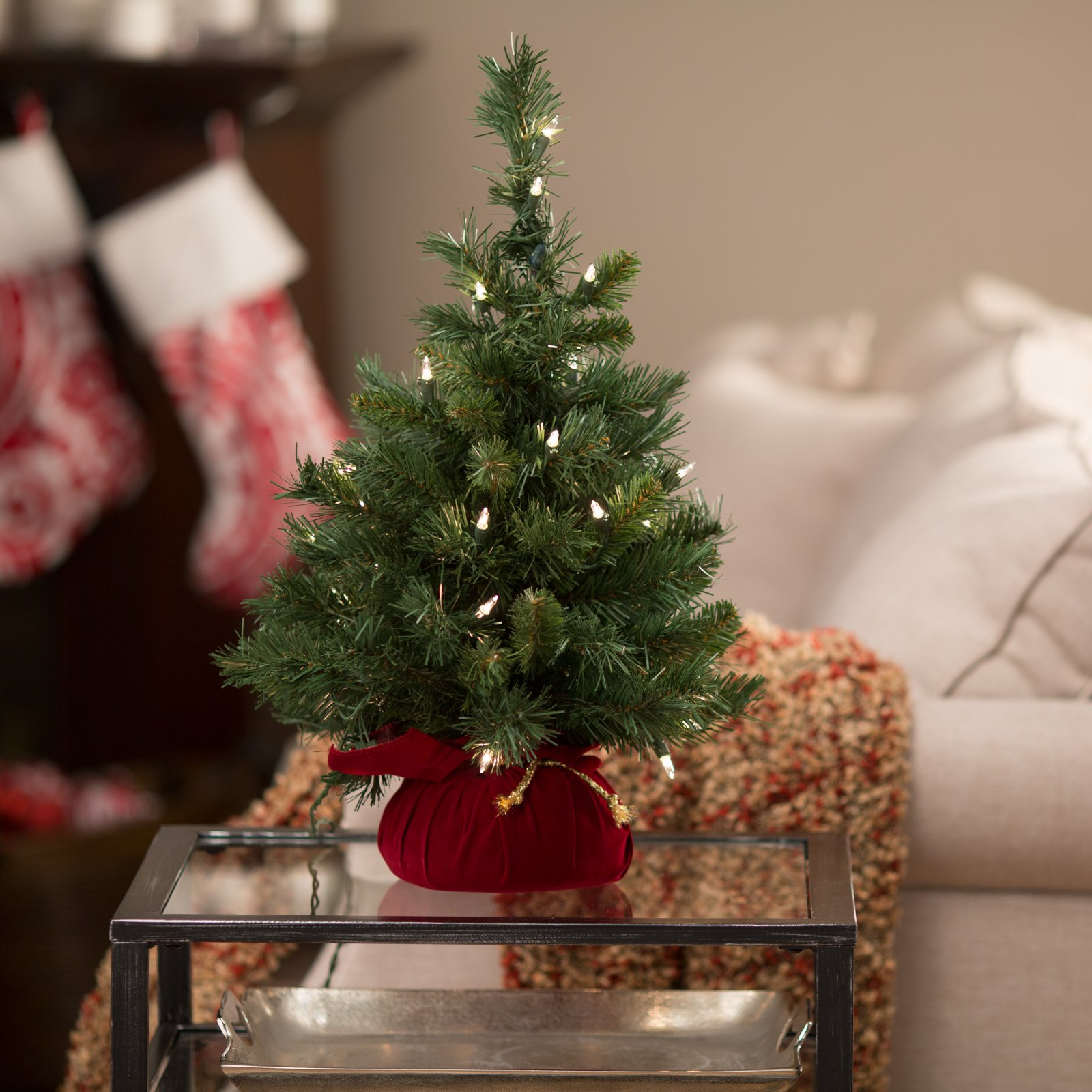 """National Tree Pre-Lit 24"""" Majestic Fir Artificial Christmas Tree in Burgundy Cloth Bag with 35 Clear Lights"""