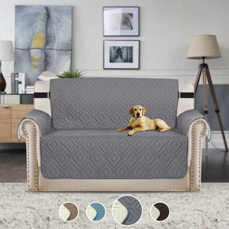 Reversible Stay in Place Plush Furniture Protector Microfiber Loveseat Protector Quilted Sofa Covers with Straps Stay in Place Slipcover (Grey/Beige, Loveseat 75