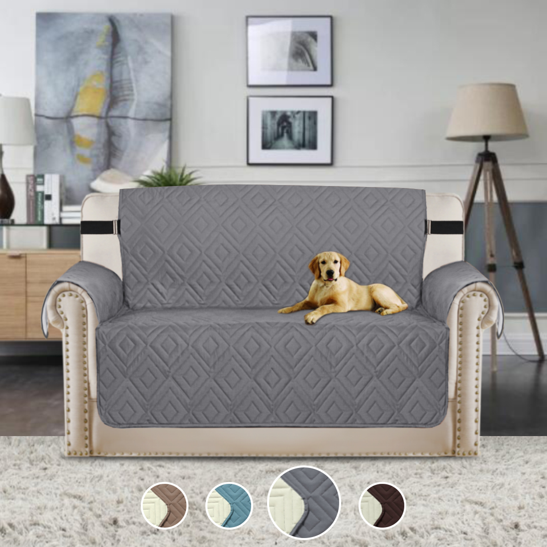 """Reversible Stay in Place Plush Furniture Protector Microfiber Loveseat Protector Quilted Sofa Covers with Straps Stay in Place Slipcover (Grey/Beige, Loveseat 75""""x90"""")"""