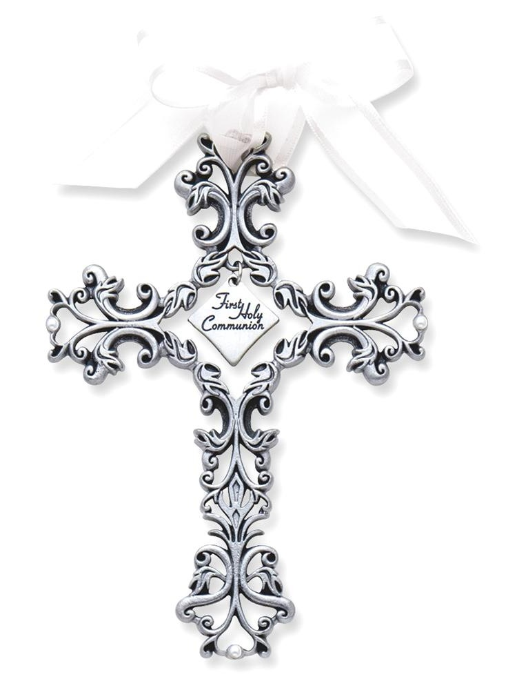 ICE CARATS First Communion Filigree Cross Religious Baptism/christening/communion Fashion Jewelry Ideal Gifts For Women Gift Set From Heart
