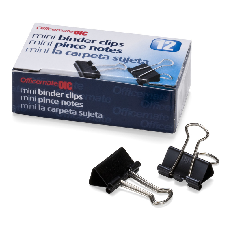 Officemate Mini Binder Clips, Black, 12 clips total.
