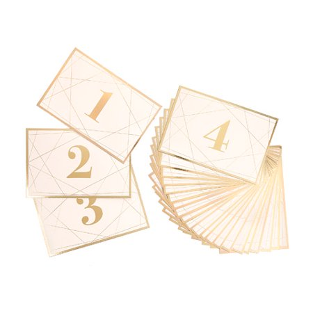 Table Number Cards (Dt Table Numbers Gold White Lines Design)