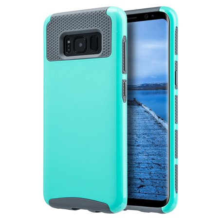 Uv Protective Coating (Samsung Galaxy S8 Plus Hybrid Dual Layer Slim Shockproof Flexible Soft TPU Impact Resistant PC Shell Glossimer UV Coating Protective Case, Teal S8+ )