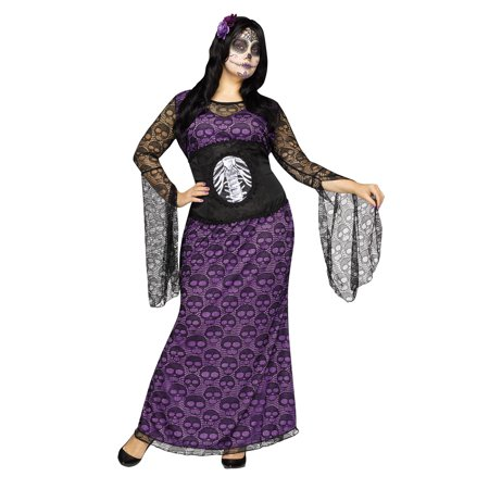 La Muerte Adult Day Of The Dead Costume - La Boardwalk Halloween