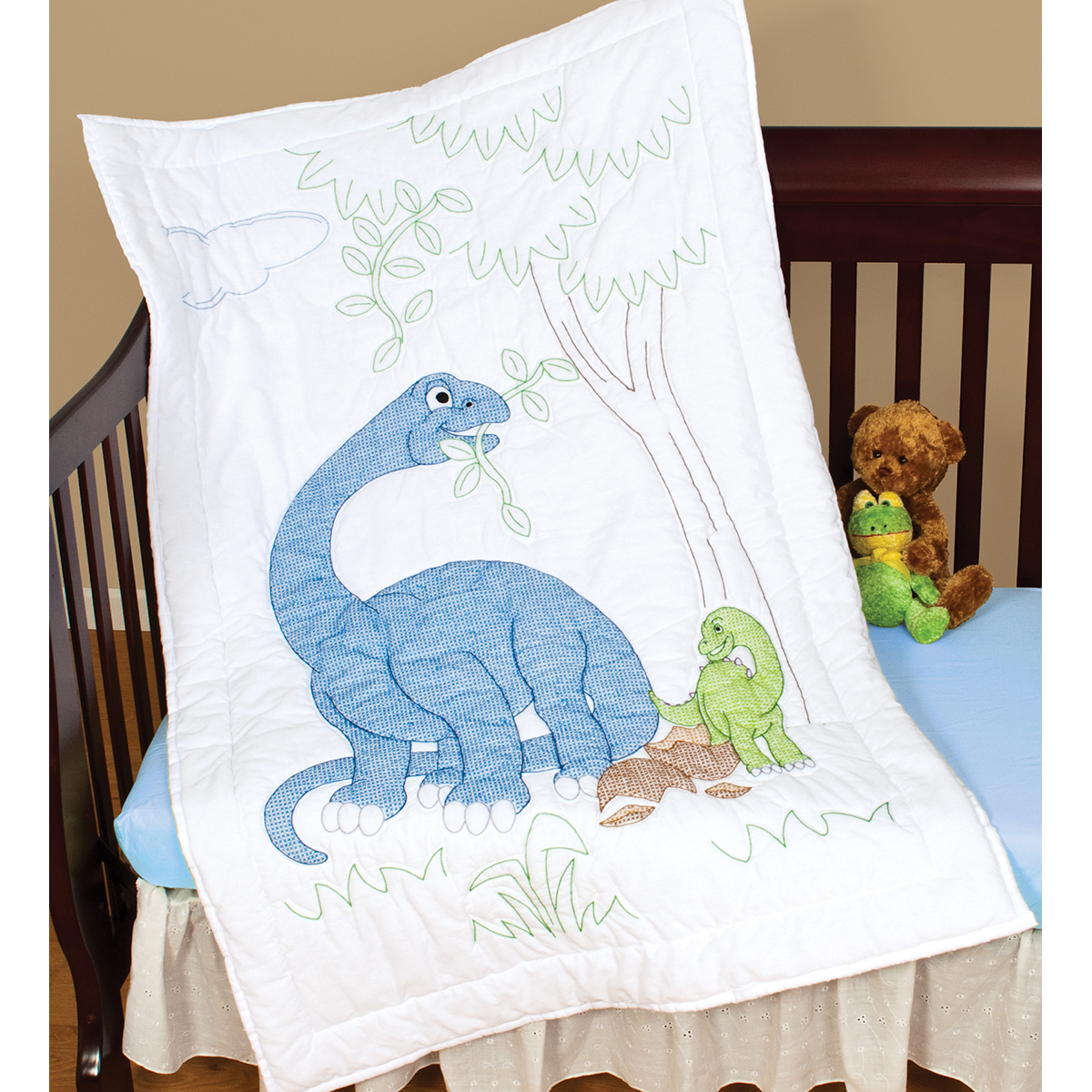 "Stamped White Quilt Crib Top 40""X60""-Dinosaurs"