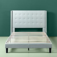 Zinus Kendra Upholstered Grand Wingback Platform Bed with Nailhead Detail, Sage Grey, Multiple Sizes