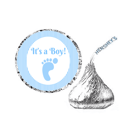 Its Party Time (216ct Its a Boy Footprint Party Hershey's Kisses Stickers /)