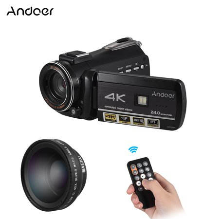 Digital Zoom 2.5 Inch Lcd - Andoer AC3 4K UHD 24MP Digital Video Camera Camcorder DV Recorder with Extra 0.45X Wide Angle Lens 3.1 Inch Rotation IPS LCD Touchscreen 30X Zoom