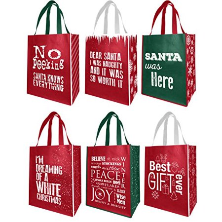 Earthwise Reusable Grocery Gift Bags Holiday Xmas Designs - Large & Medium Size - 6 Assorted Designs (Pack of - Large Plastic Christmas Bags