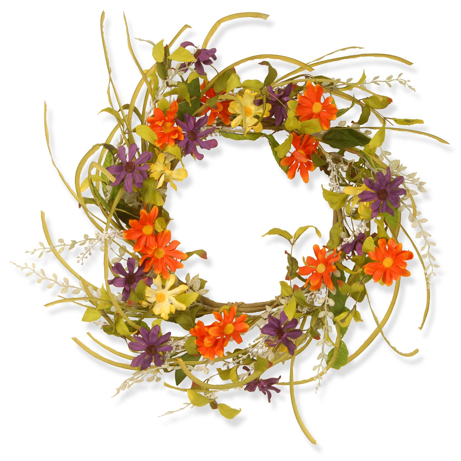"22"" Garden Accents Floral Daisy Wreath"