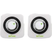 BN-LINK  Mini Indoor 24-Hour Mechanical Outlet Timer, 2 Prong, 2-Pack