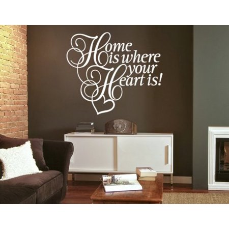 Home is Where Your Heart is! Wall Decal - wall decal, sticker, mural vinyl art home decor, quotes and sayings - 4336 - Pastel orange, 47in x 40in