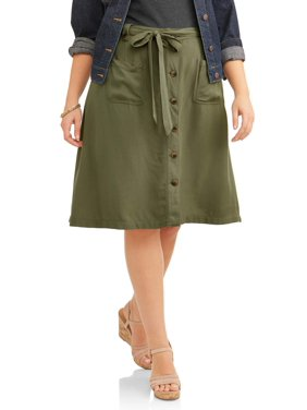 67400fd02c Product Image Women's Plus Size Button Front A-Line Skirt With Belt