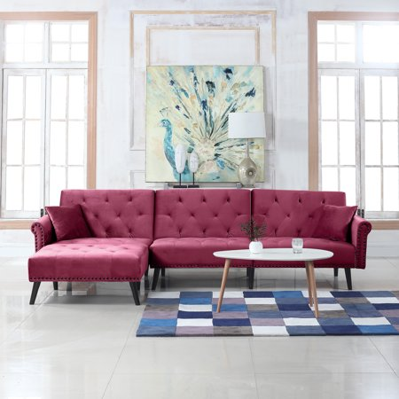 Modern Style Velvet Sleeper Futon Sofa, Living Room L Shape Sectional Couch  with Reclining Backrest and Chaise Lounge (Rose Red)