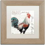 """Trademark Fine Art """"Dans la Ferme Rooster III"""" Canvas Art by Jennifer Redstreake White Matte, Birch Frame"""