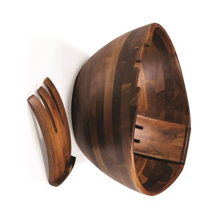 Oversized Acacia Salad Bowl W/Integrated Tossing Tools Designer Jewelry by Sweet Pea