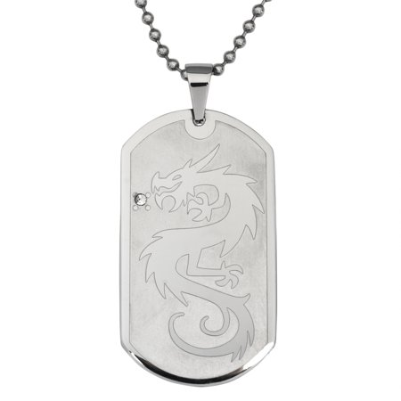 Dragon With Crystal Stainless Steel Dog Tag Ball Chain Necklace Crystal Dog Tag Necklace