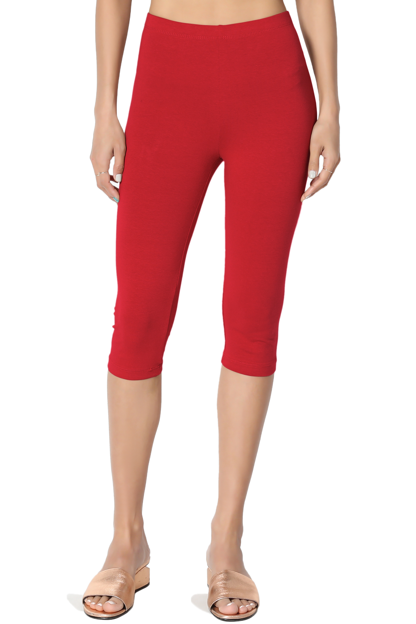 TheMogan Women's S~3X Basic Stretch Cotton Span Below Knee Length Capri Leggings