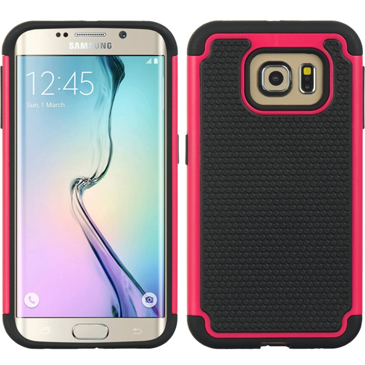 Samsung Galaxy S6 Edge Case, by Insten Dots Dual Layer [Shock Absorbing] Hybrid Hard Plastic/Soft TPU Rubber Case Cover For Samsung Galaxy S6 Edge