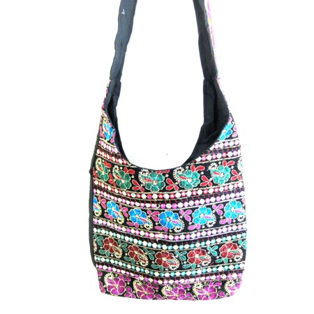 Indian Boho Hippy Messenger Shoulder Sling Crossbody Tote Hand Bag Purse, Hand embrodiery and Mirror Work, Beautiful! (Indian Shoulder Bag)